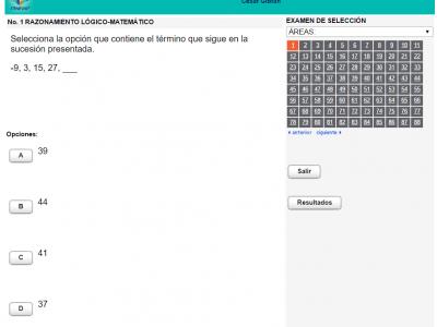 Simulador del examen de admision en linea Exani I, Exani II y Exani III